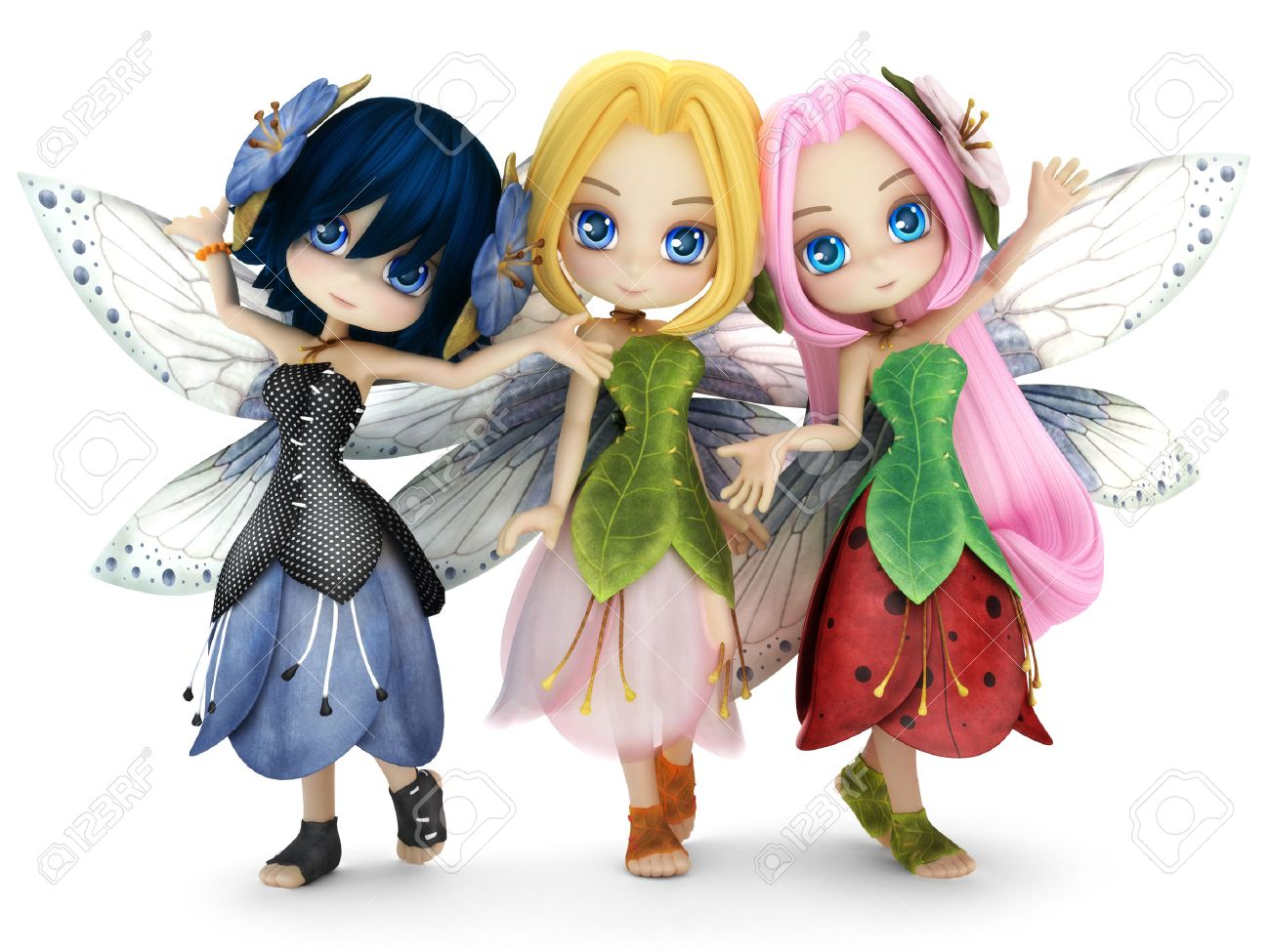 Cute toon fairy friends posing together on a white isolated background. Part of a little fairy series. Standard-Bild - 43824418
