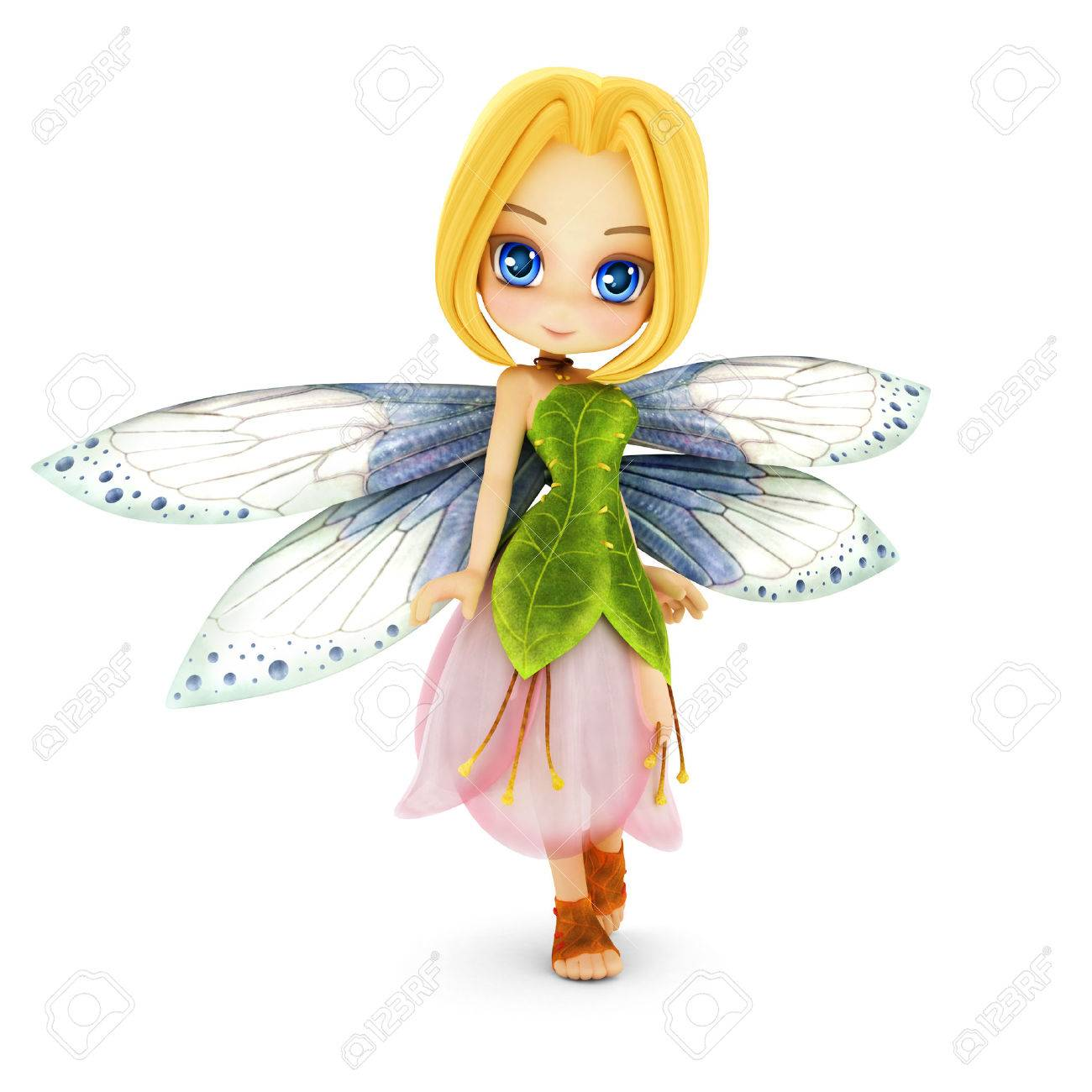 Cute toon fairy with wings smiling on a white isolated background. Part of a little fairy series. Standard-Bild - 43824423