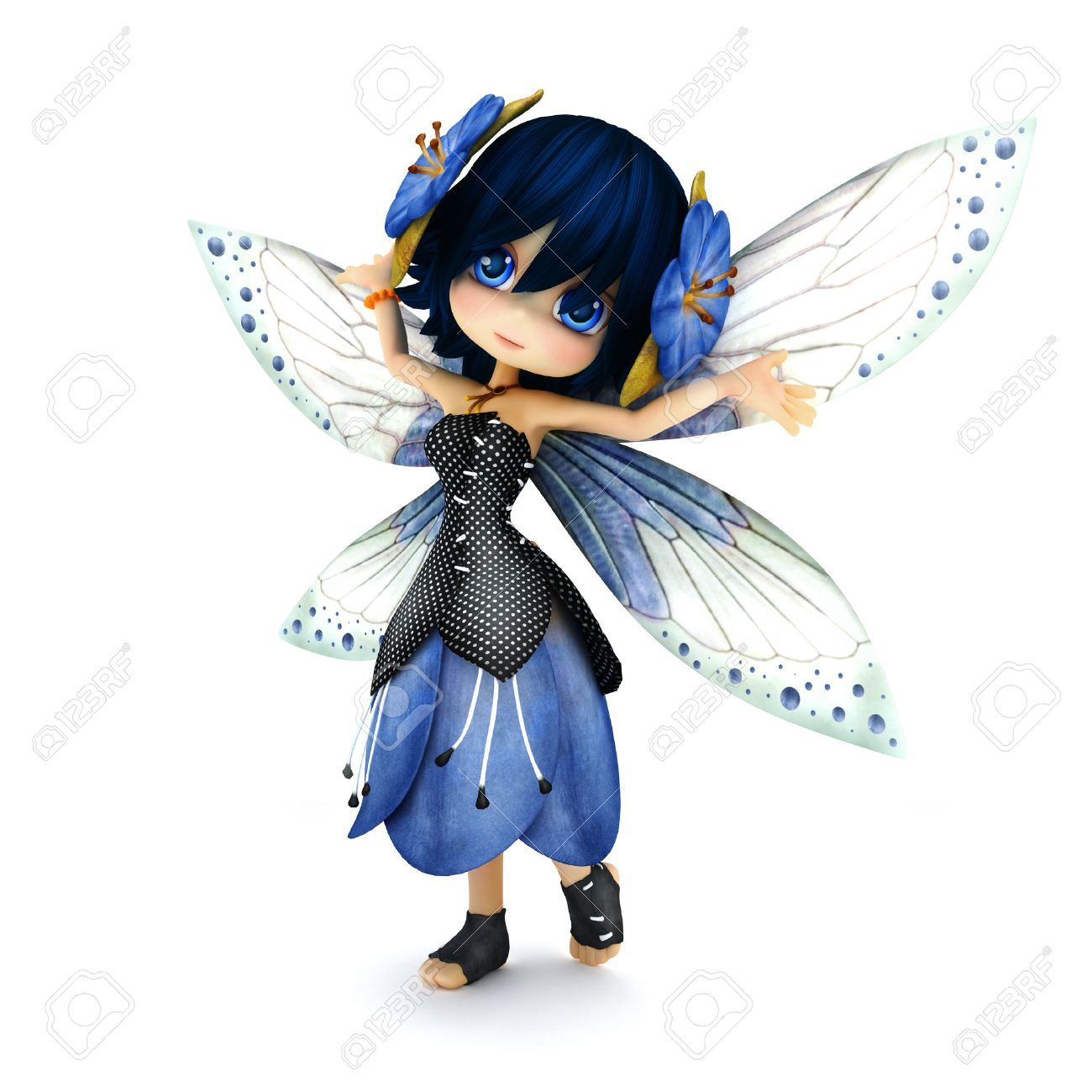 Cute toon fairy wearing blue flower dress with flowers in her hair posing on a white isolated background. Part of a little fairy series Standard-Bild - 43824426