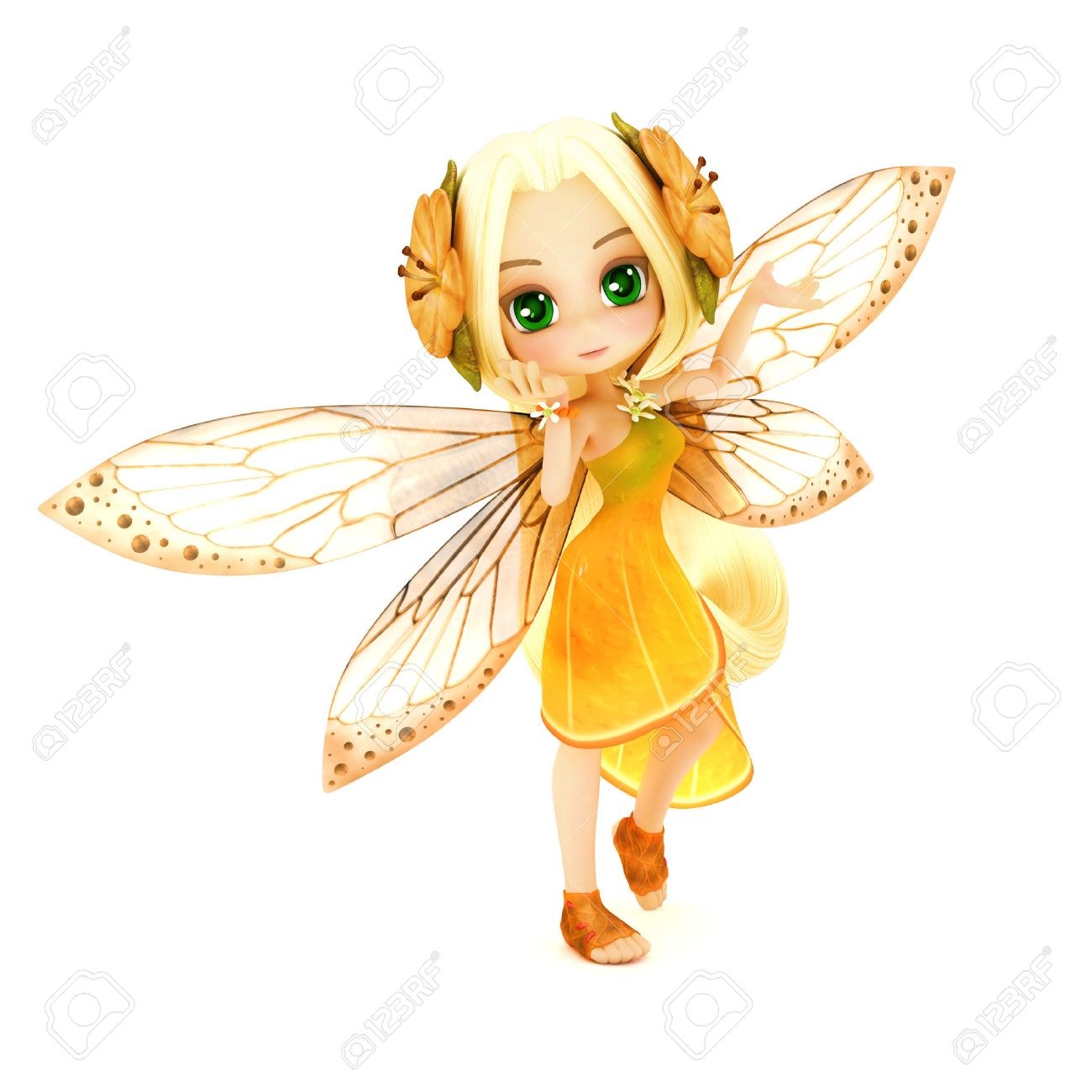 Cute toon fairy wearing orange flower dress with flowers in her hair posing on a white isolated background. Part of a little fairy series Standard-Bild - 43824428