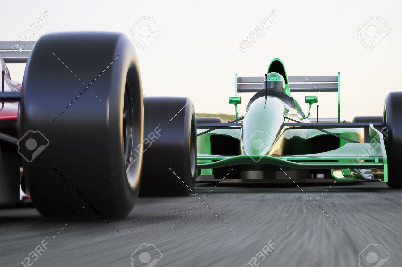 Motor sports race car competitive close quarters racing on a track with motion blur Standard-Bild - 43692162