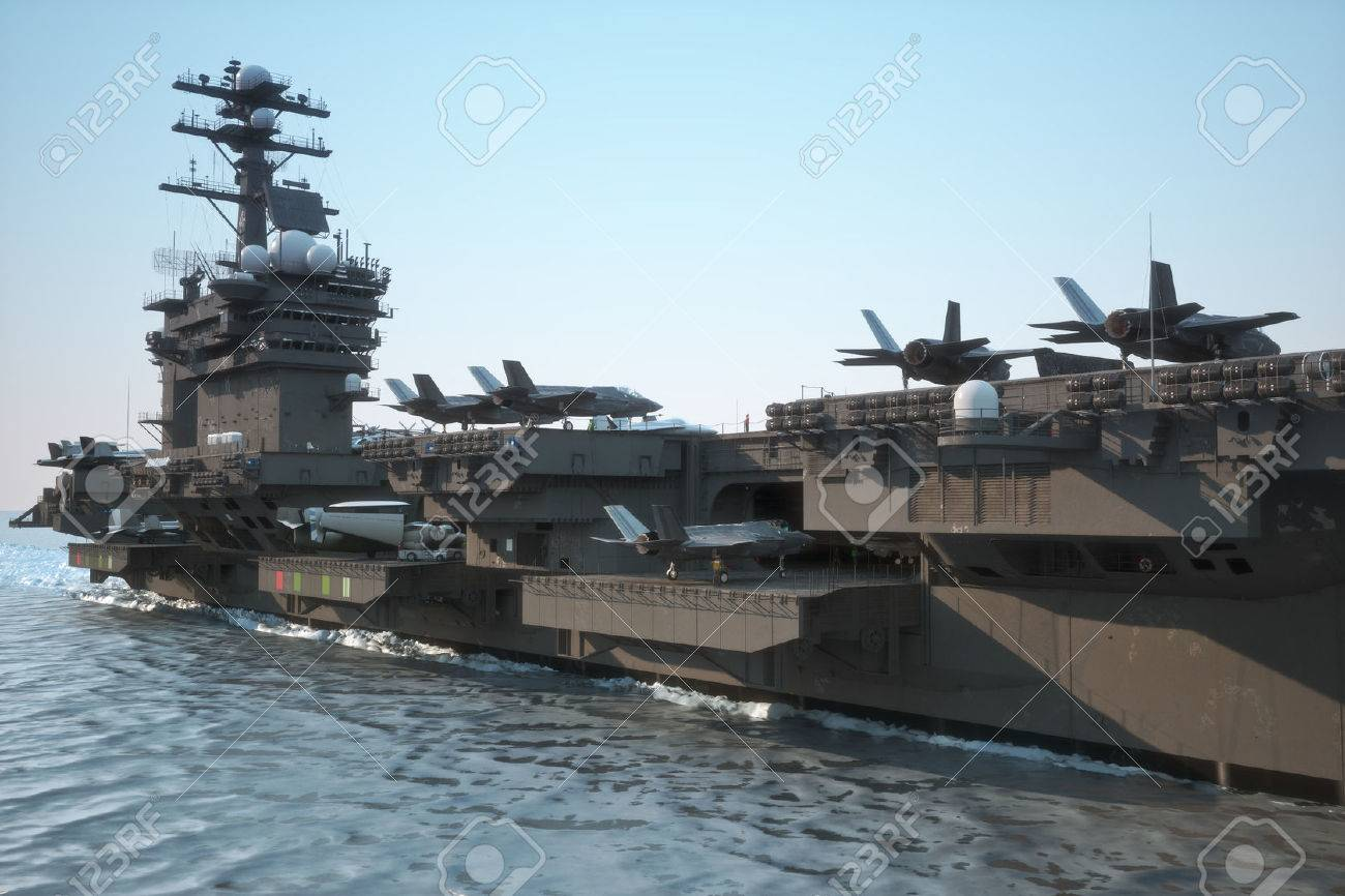 Navy aircraft carrier angled view, with a large compartment of aircraft and crew. Standard-Bild - 43692167