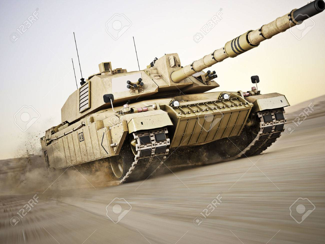 Military armored tank moving at a high rate of speed with motion blur over sand. Generic photo realistic 3d model scene. Standard-Bild - 43692171