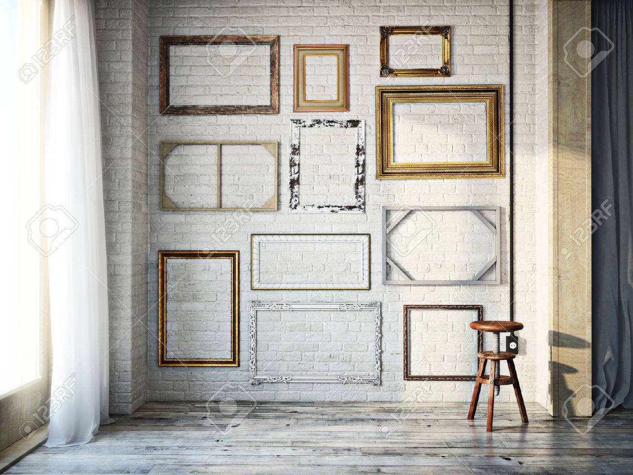 Abstract Interior Of Assorted Classic Empty Picture Frames Against A White  Brick Wall With Rustic Hardwood