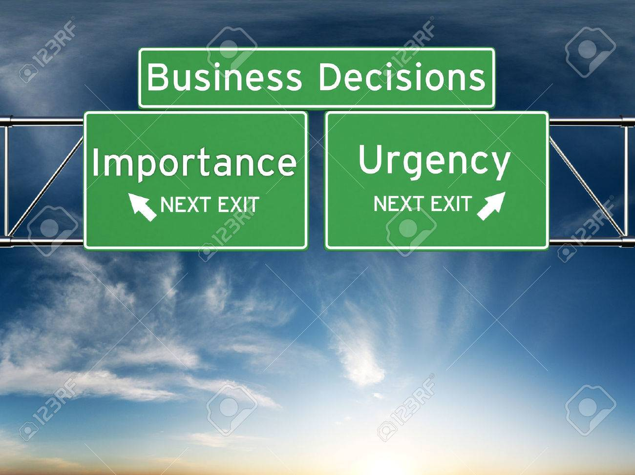 Business decision making focusing on decisions of importance or urgency. Standard-Bild - 43954927