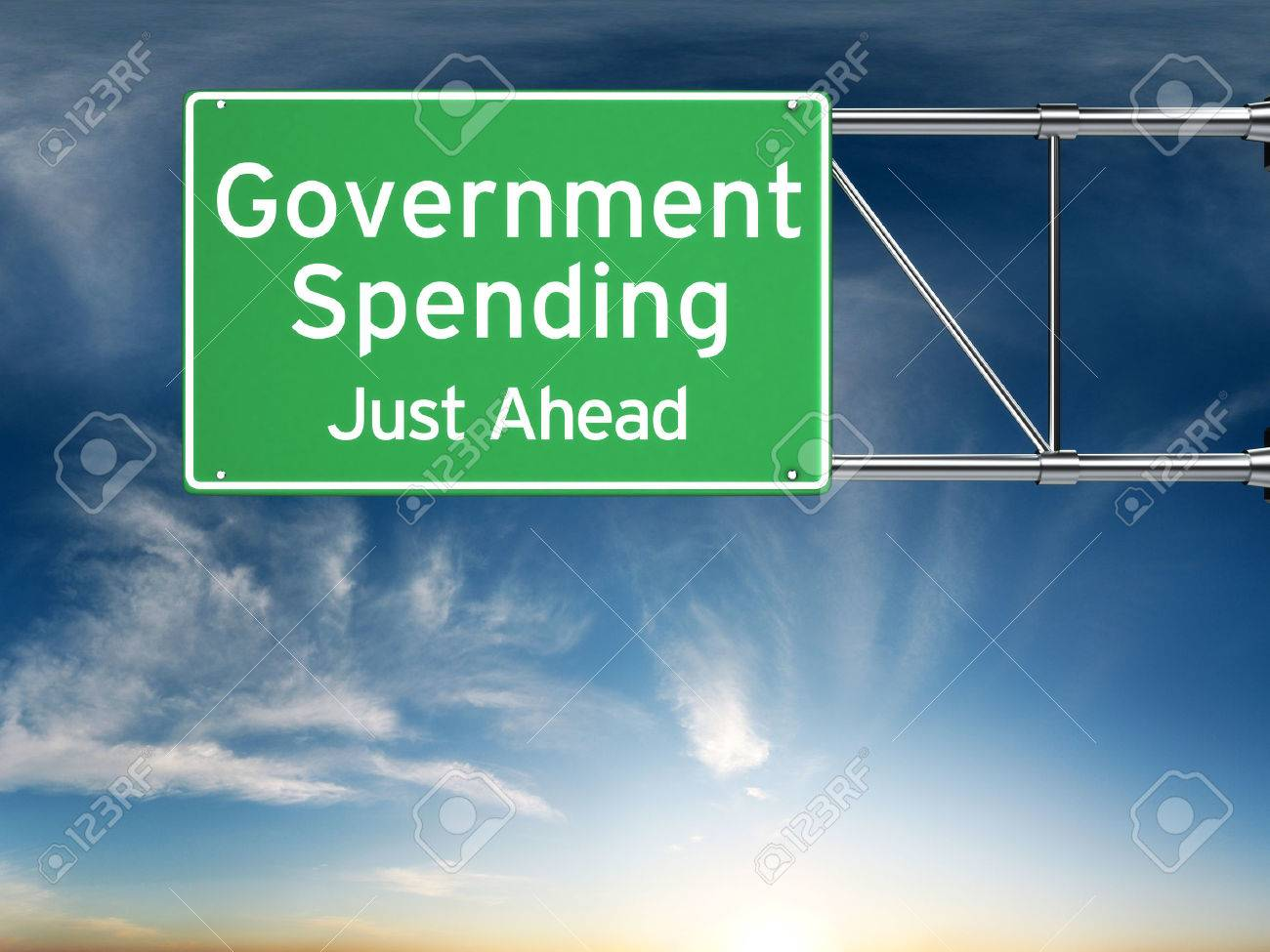 Government spending just ahead . Street exit sign showing the increase of government spending in the future. Standard-Bild - 43954928