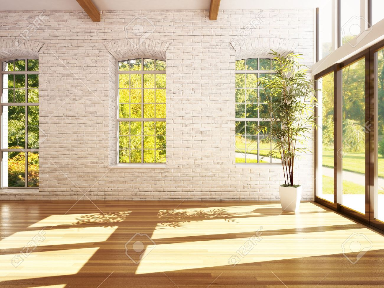 Empty room of business, or residence with hardwood floors, stone walls and woods background. Photo realistic 3d rendering. Standard-Bild - 43954931
