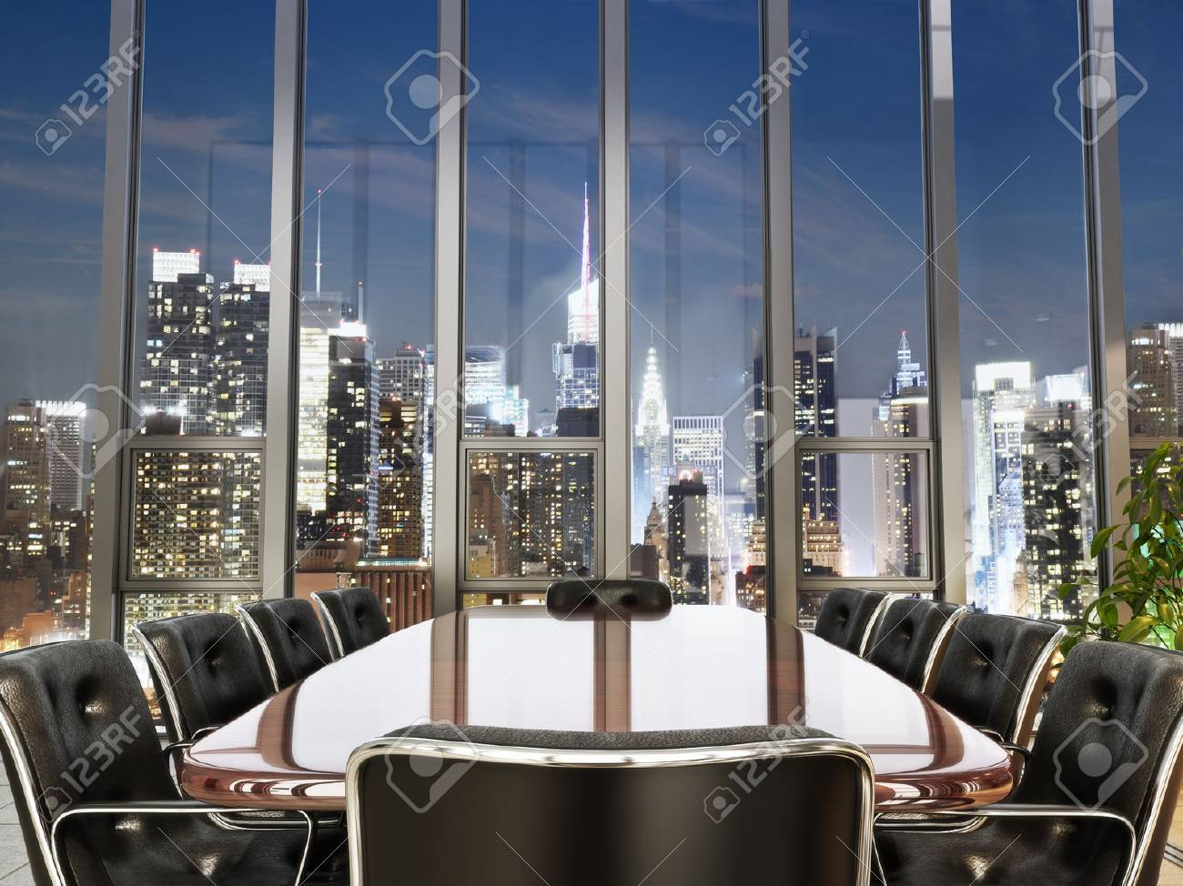 Business office conference room with table and leather chairs overlooking a city at dusk. Photo realistic 3d model scene. Standard-Bild - 44123622