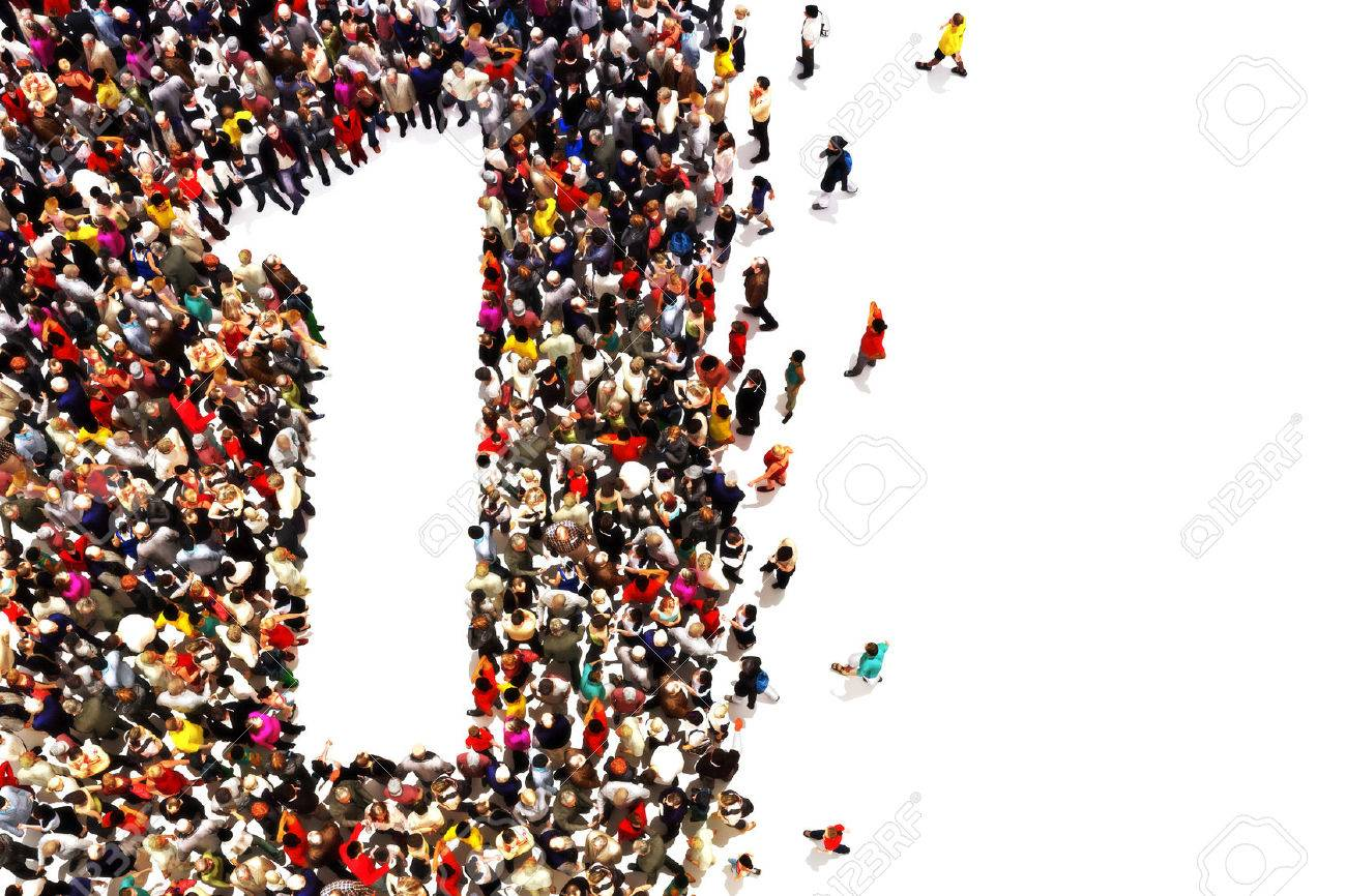 People that are winners ,leaders,or success concept. People in the shape of the number one on a white background. Standard-Bild - 44173032