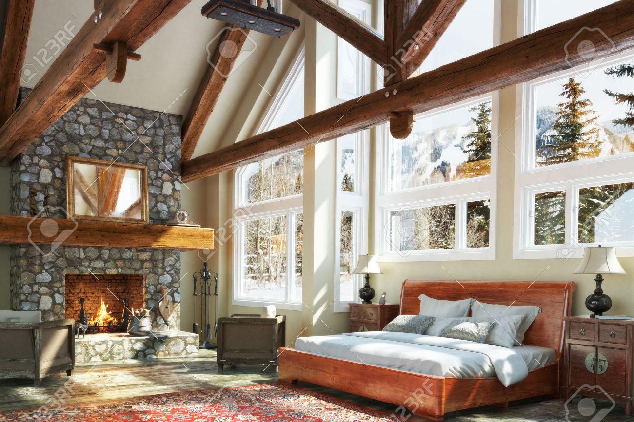 Luxurious open floor cabin interior bedroom design with roaring fireplace and winter scenic background. Photo realistic 3d model scene. Standard-Bild - 46050648