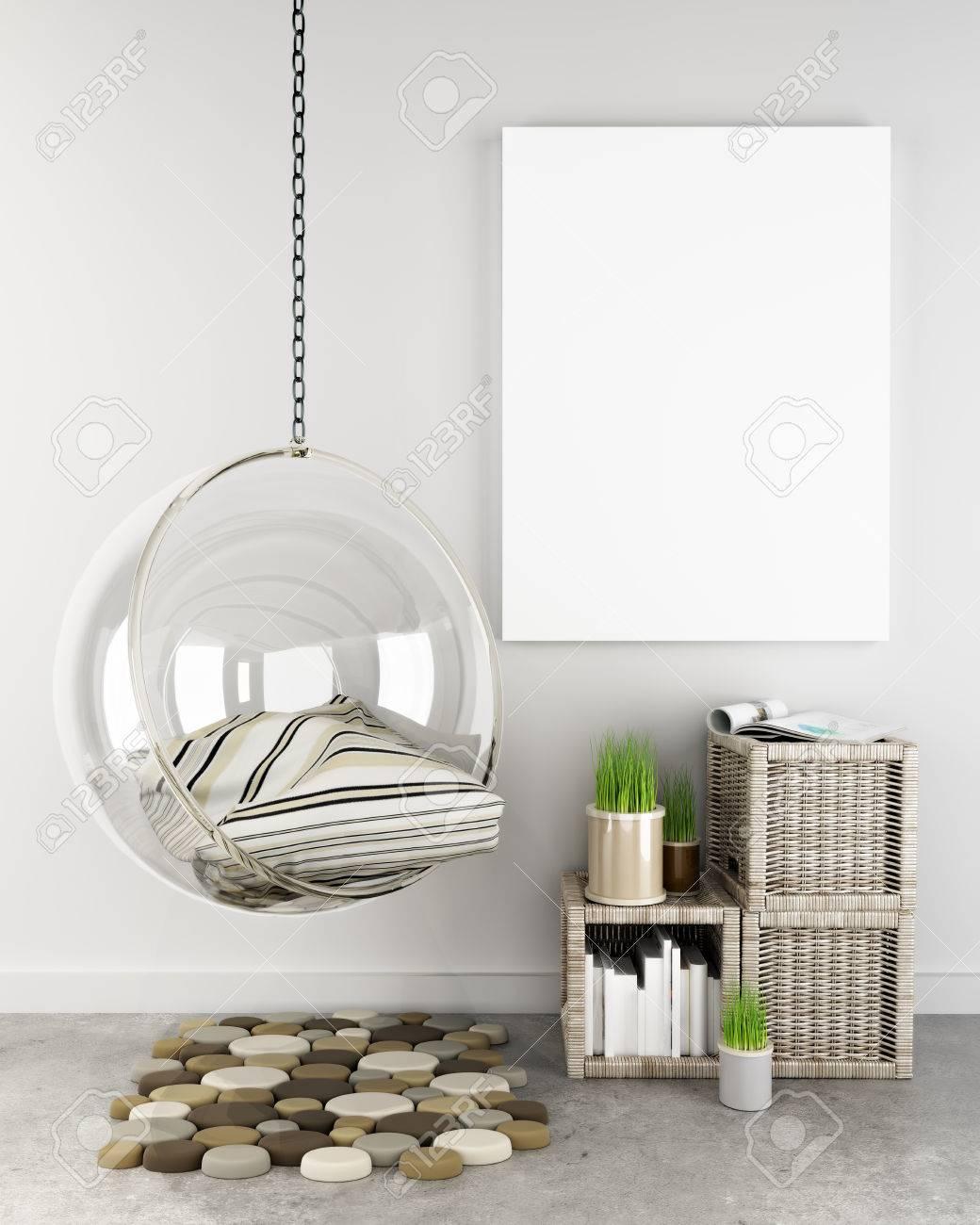 Mock up poster in hipster interior background, Photo realistic 3D render scene. Standard-Bild - 46050650
