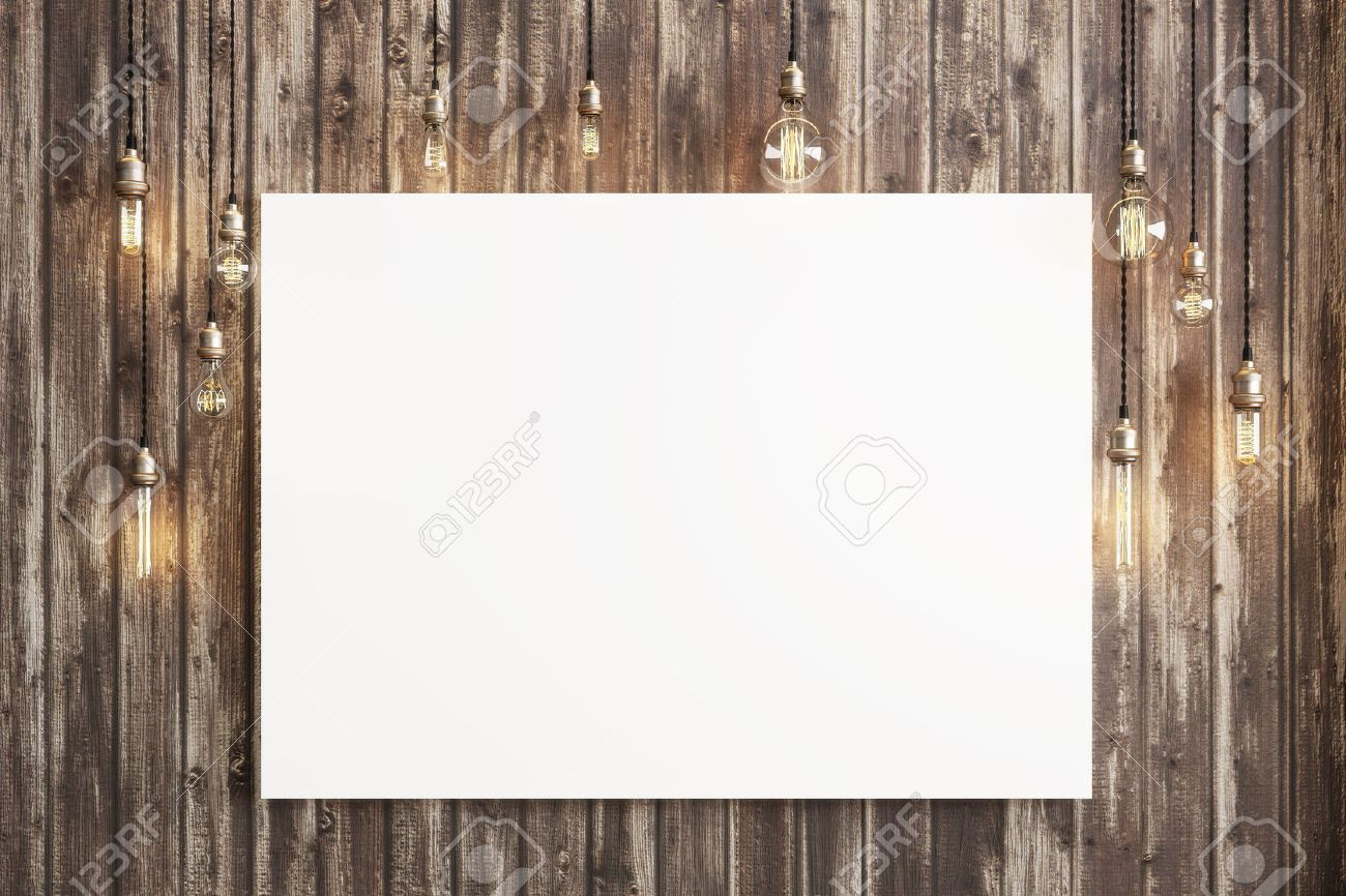 Mock up poster with ceiling lamps and a rustic wood background, Photo realistic 3d illustration. Standard-Bild - 46050663