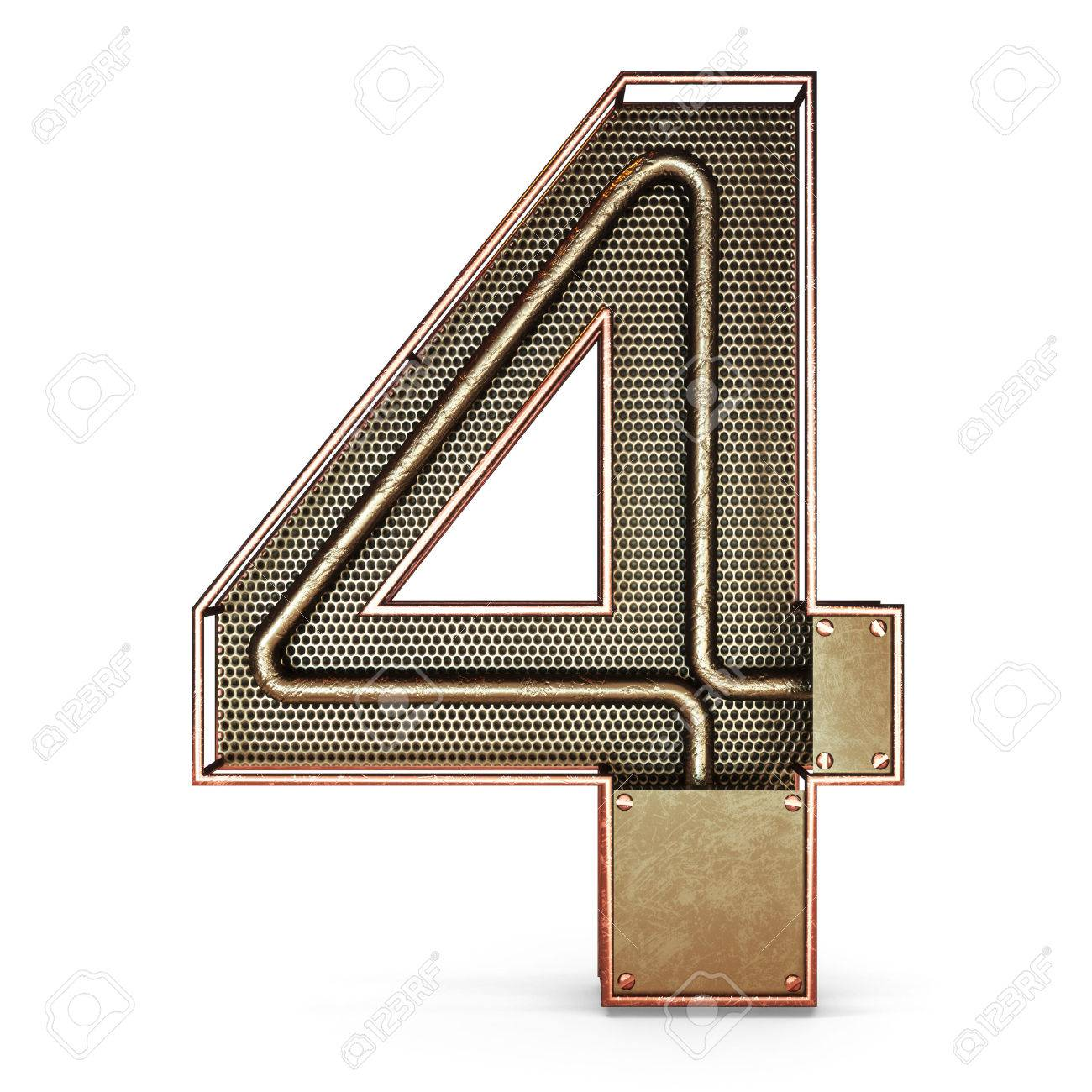 3d number four 4 symbol with rustic gold metal mesh tubes with 3d number four 4 symbol with rustic gold metal mesh tubes with copper and buycottarizona Image collections