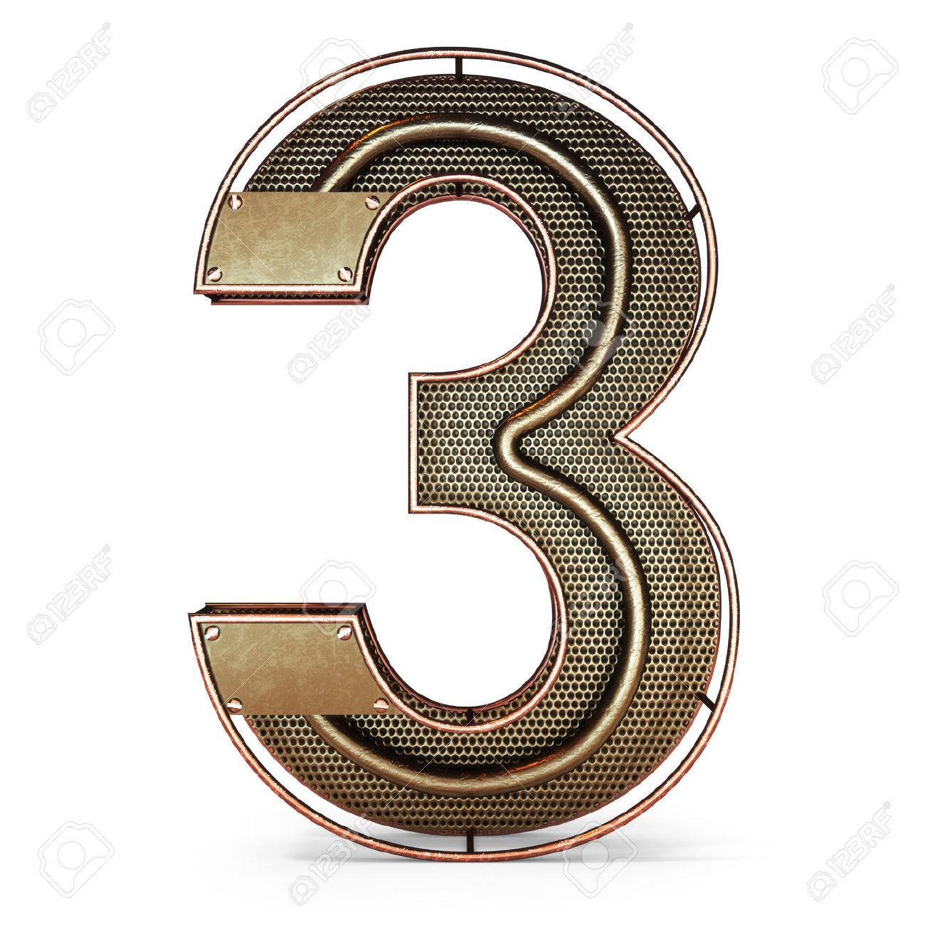 3d number three 3 symbol with rustic gold metal mesh tubes stock 3d number three 3 symbol with rustic gold metal mesh tubes with copper and buycottarizona Image collections