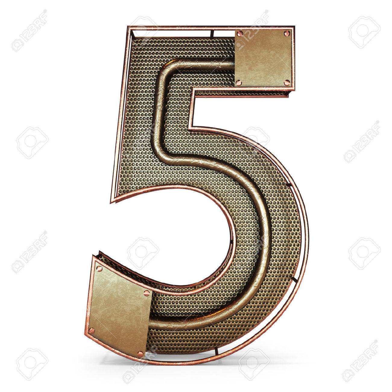 3d number five 5 symbol with rustic gold metal mesh tubes with 3d number five 5 symbol with rustic gold metal mesh tubes with copper and buycottarizona Image collections