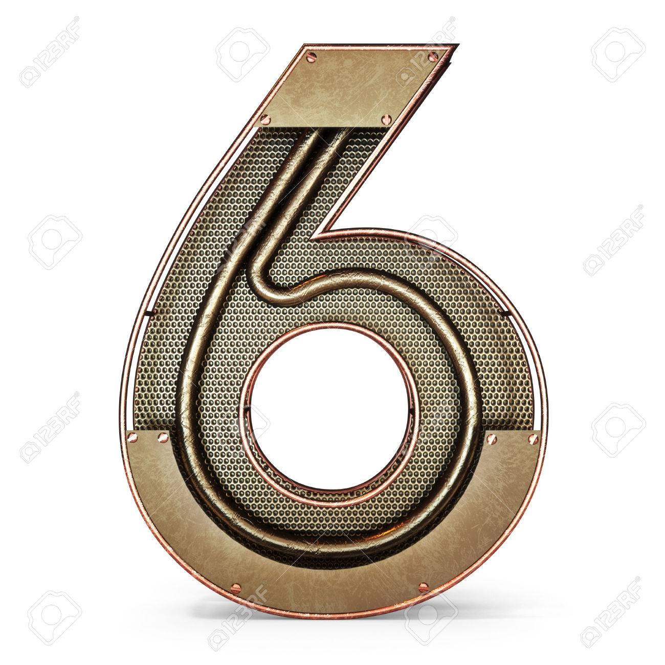 3d number six 6 symbol with rustic gold metal mesh tubes with 3d number six 6 symbol with rustic gold metal mesh tubes with copper and buycottarizona Image collections
