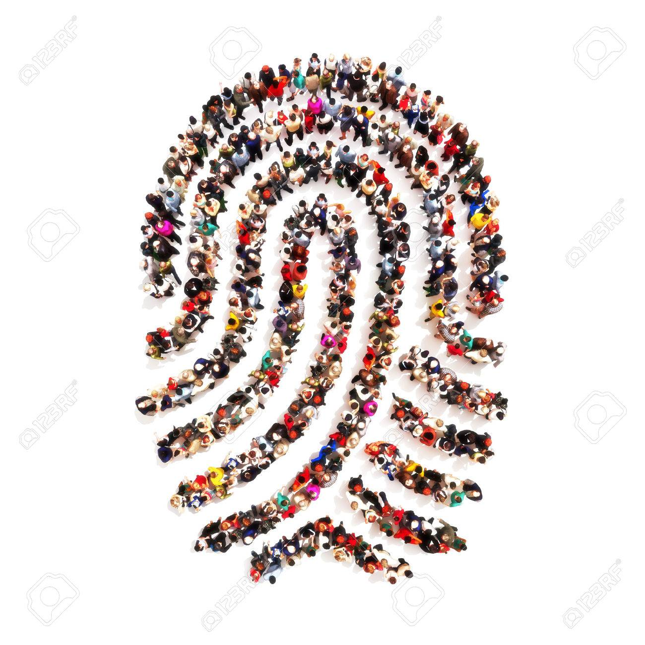 Large group pf people in the shape of a fingerprint on an isolated white background. People finding there identity, identity theft, individuality concept. - 47415009