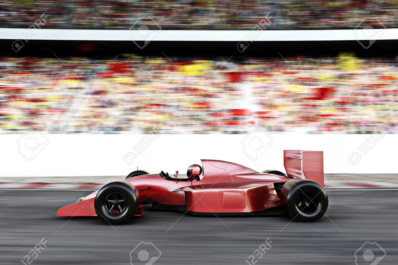 Motor Sports Red Race Car Side View On A Track Leading The Pack