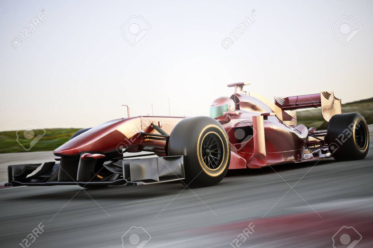Motor sports red race car side view on a track leading the pack with motion Blur. Standard-Bild - 47935766