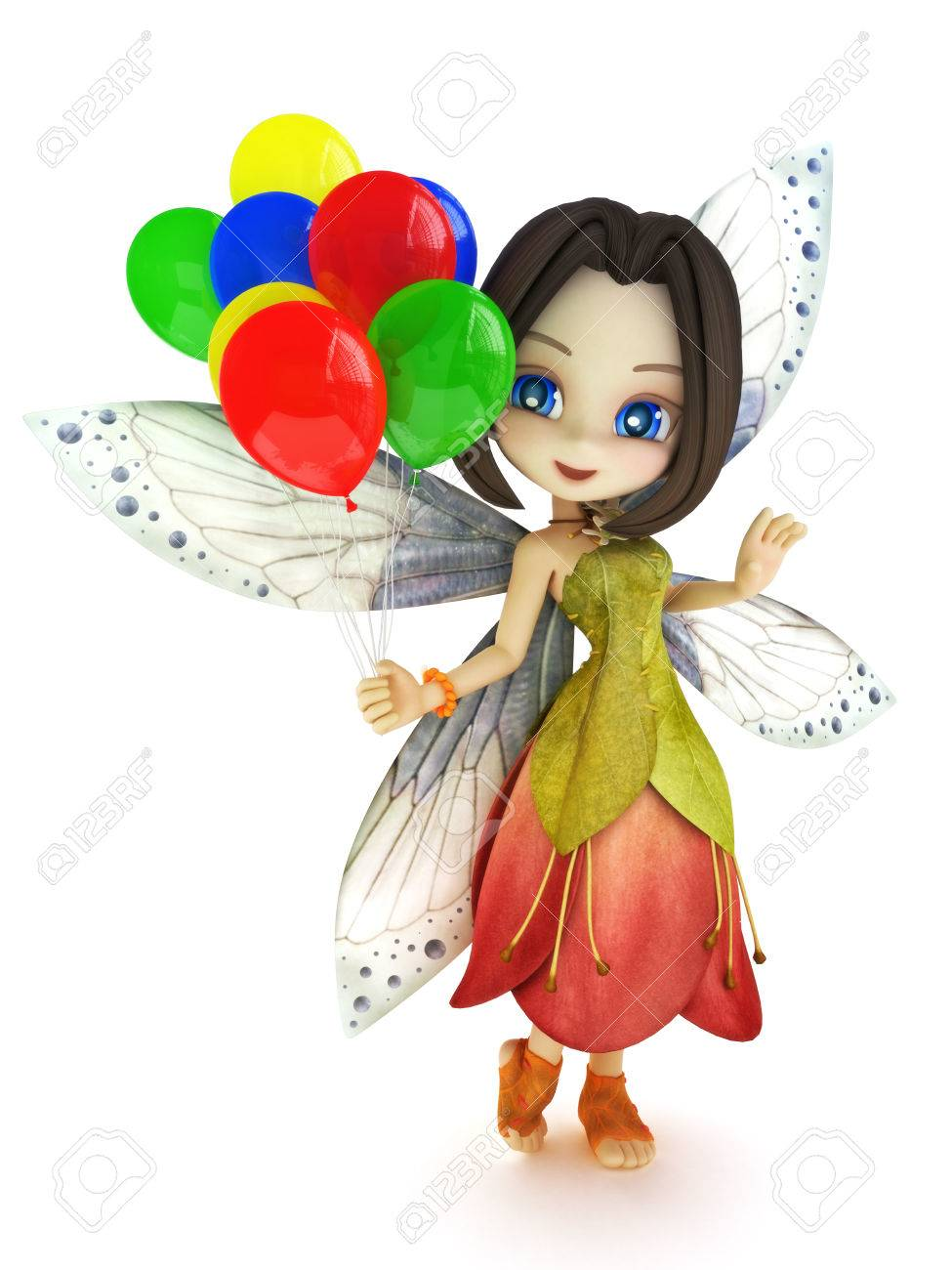 cute toon fairy with wings smiling holding balloon u0027s on a white