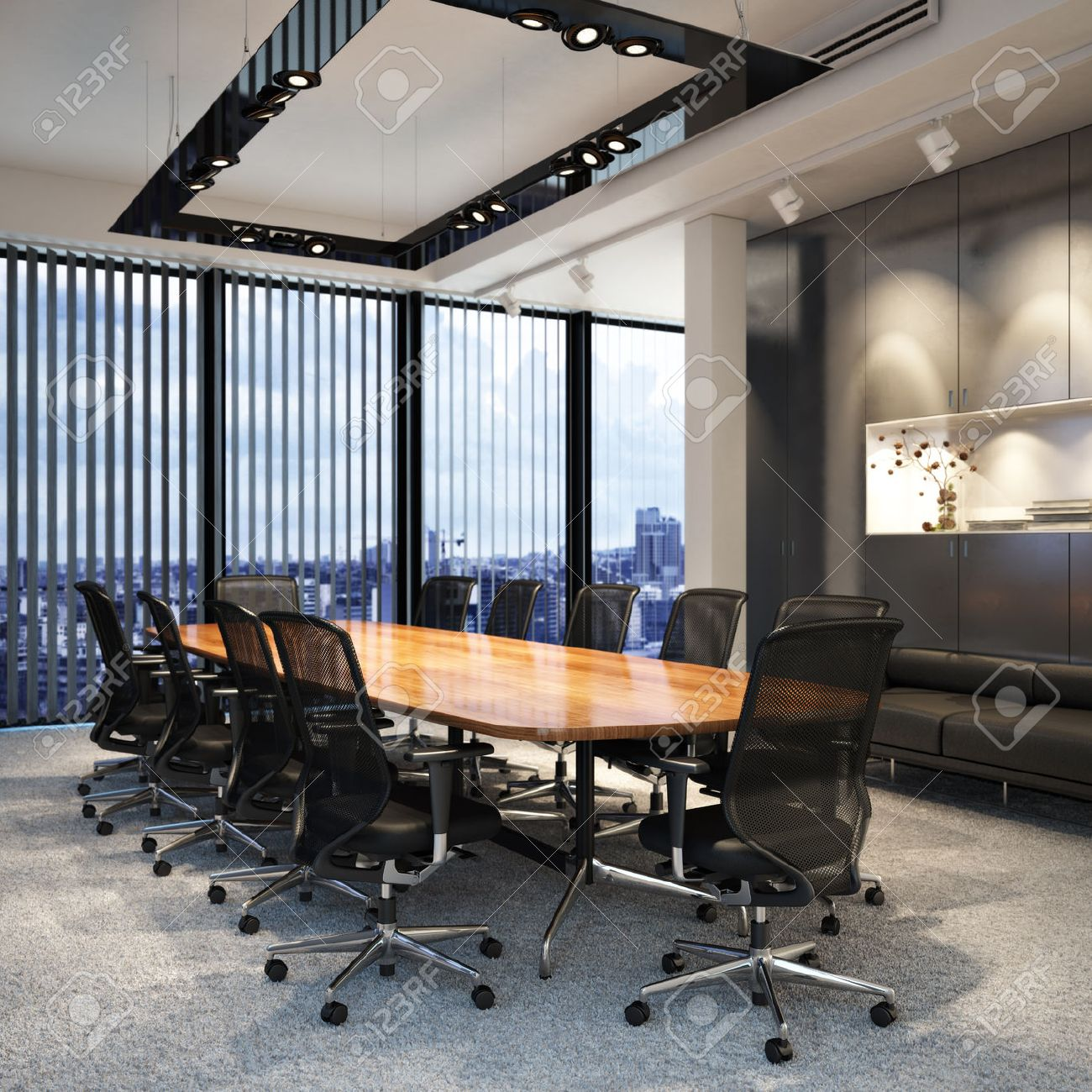 Executive modern empty business office conference room overlooking a city. Photo realistic 3d model scene. Standard-Bild - 52414905