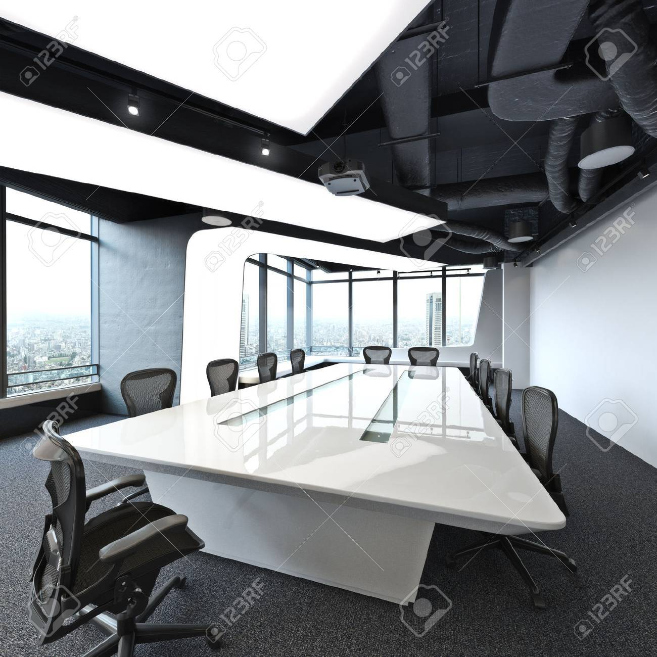 Executive High Rise Modern Empty Business Office Conference Room - Executive office conference table