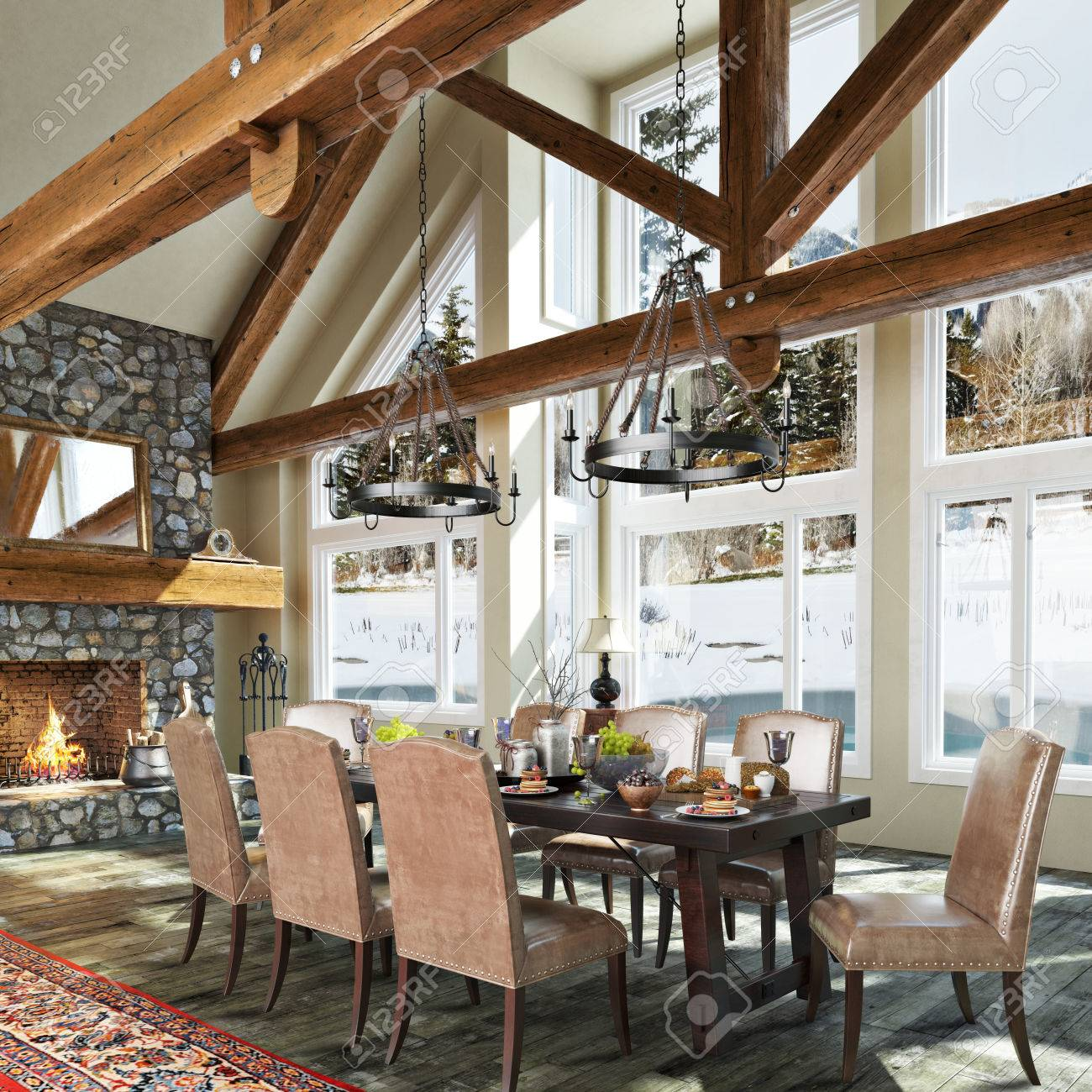 Cabin interior fireplace - Luxurious Open Floor Cabin Interior Dinning Room Design With Roaring Stone Fireplace And Winter Scenic Background
