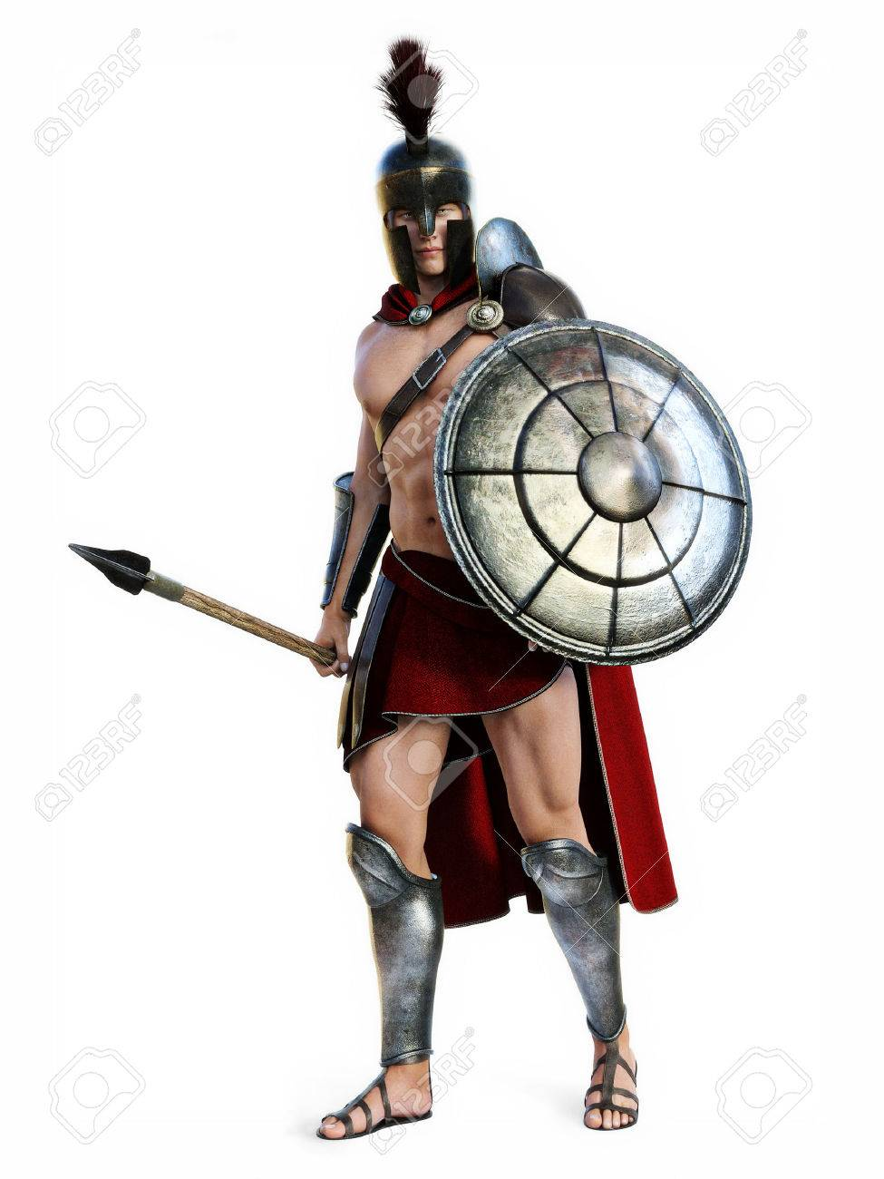 The Spartan , Full length illustration of a Spartan in Battle dress posing on a white background. Photo realistic 3d model scene. Standard-Bild - 52448670