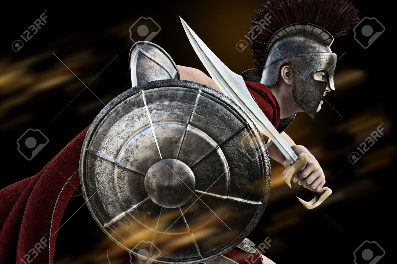 Spartan charge ,Spartan warrior in Battle dress attacking . Photo realistic 3d model scene. Standard-Bild - 52448677