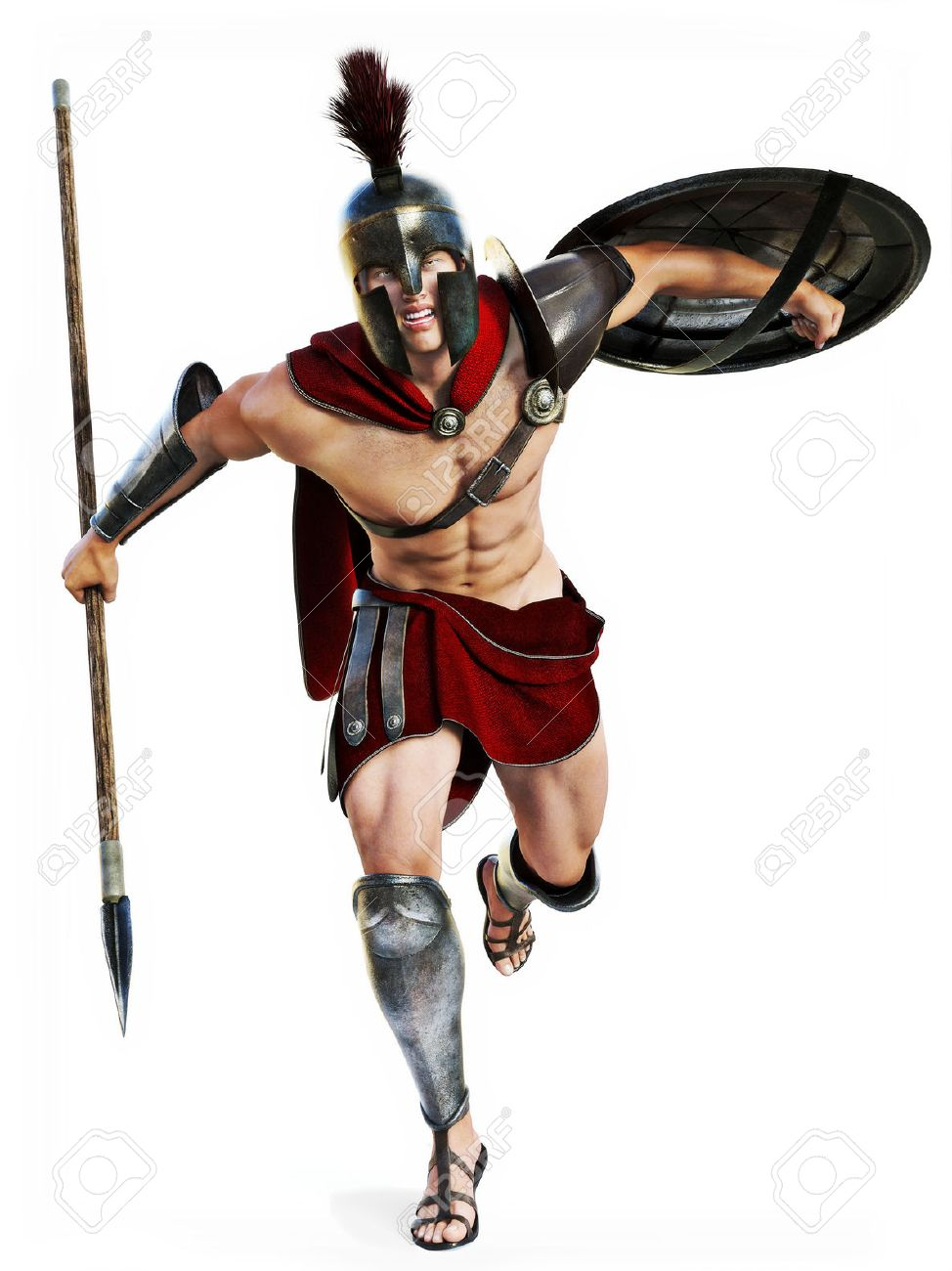 Spartan charge , Full length illustration of a Spartan warrior in Battle dress attacking on a white background. Photo realistic 3d model scene. Standard-Bild - 52448679