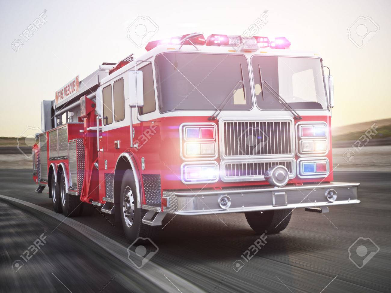 Fire Truck Running With Lights And Sirens On A Street With Motion