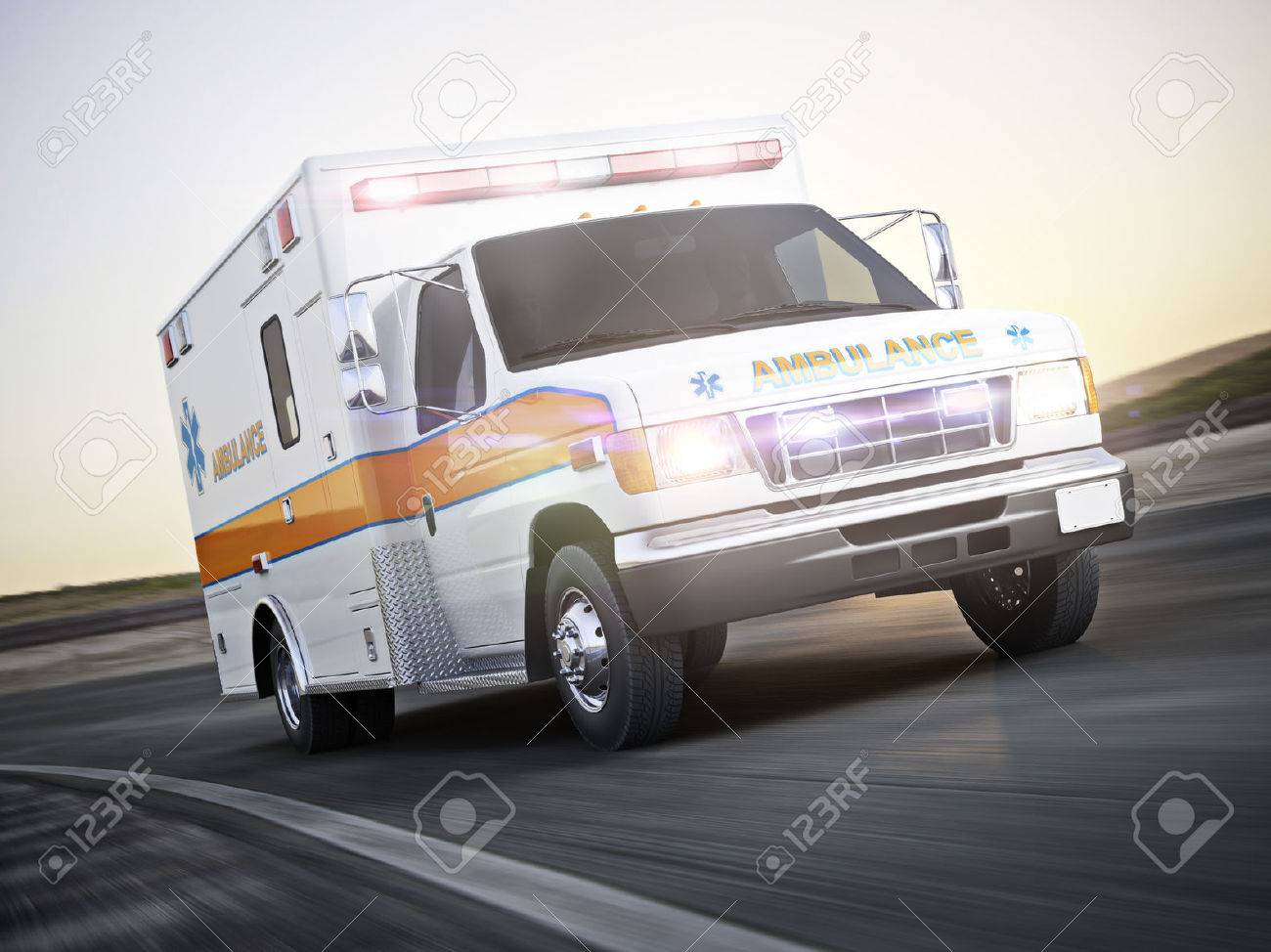 Ambulance running with lights and sirens on a street with motion blur. Photo realistic 3d model scene. Standard-Bild - 52448900