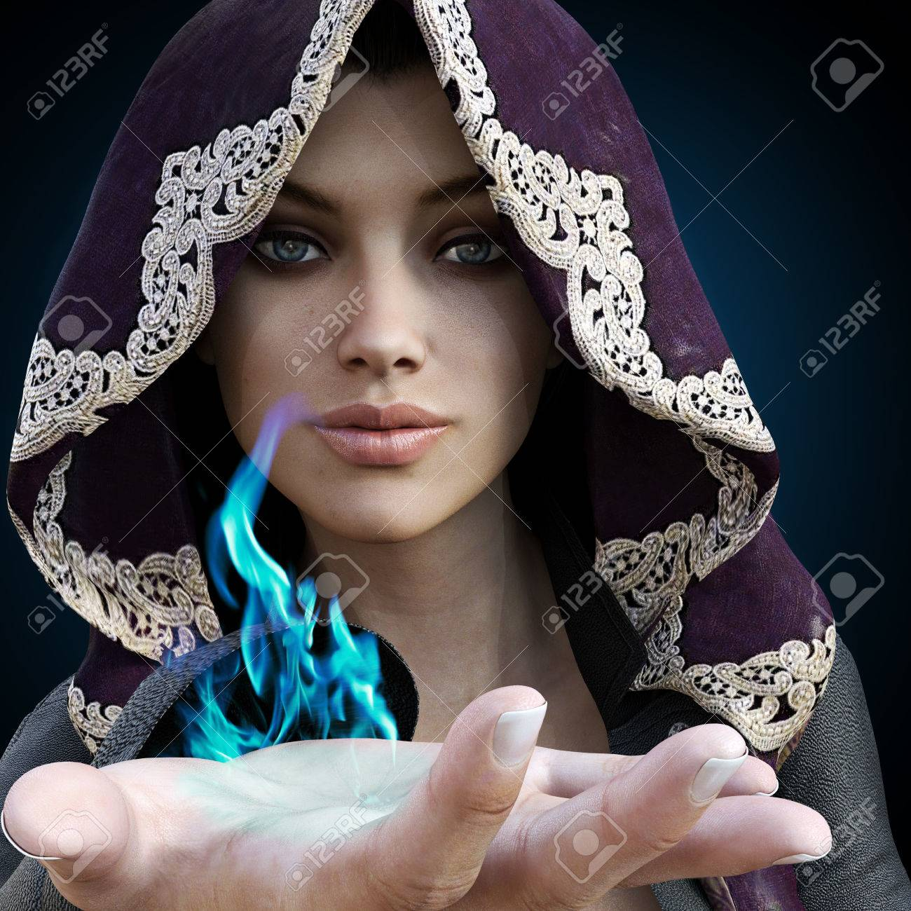 Female sorcerer with blue magic coming from her hand on a gradient black background. Standard-Bild - 52448913