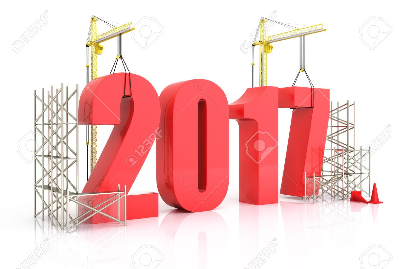 Year 2017 growth, building, improvement in business or in general concept in the year 2017, on a white background Standard-Bild - 57417969