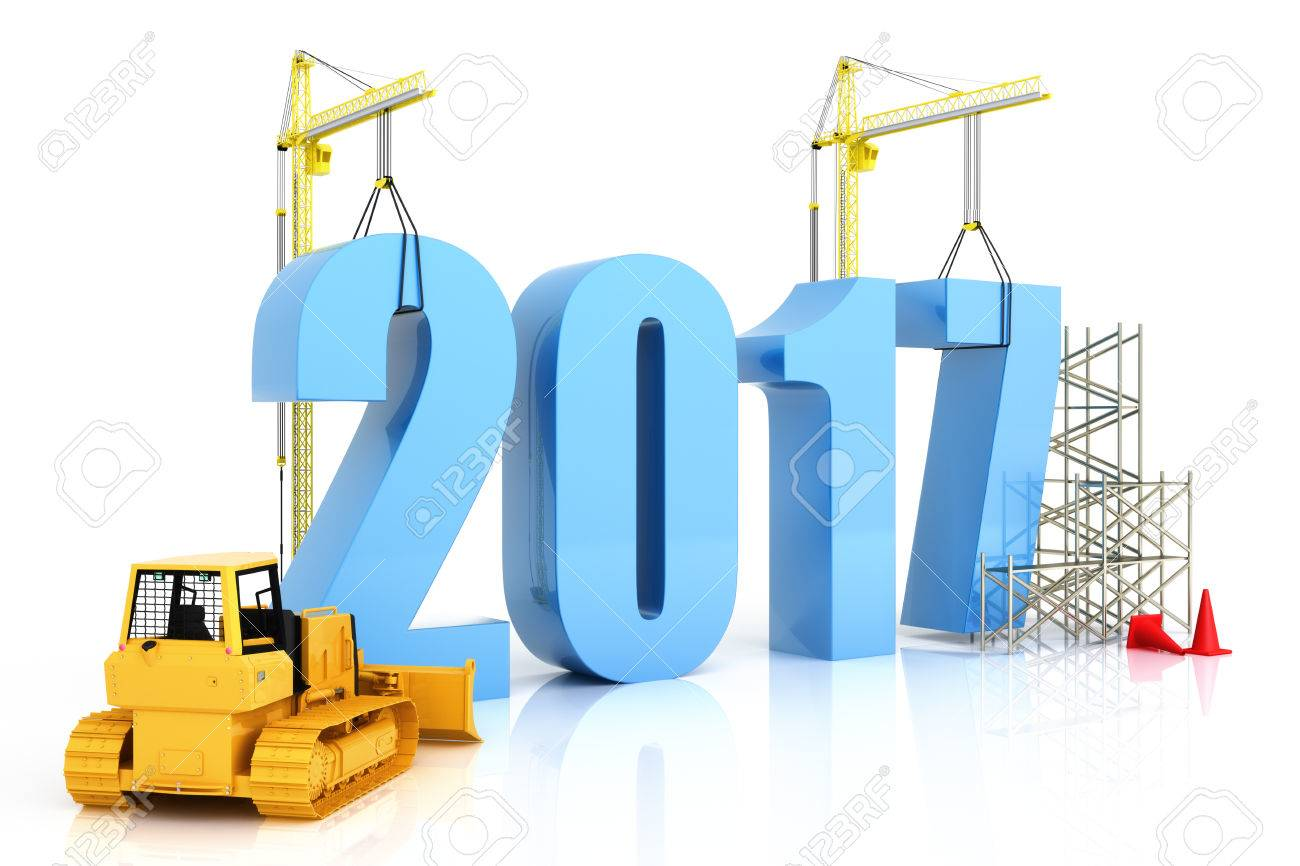 Year 2017 growth, building, improvement in business or in general concept in the year 2017, on a white background Standard-Bild - 57417971