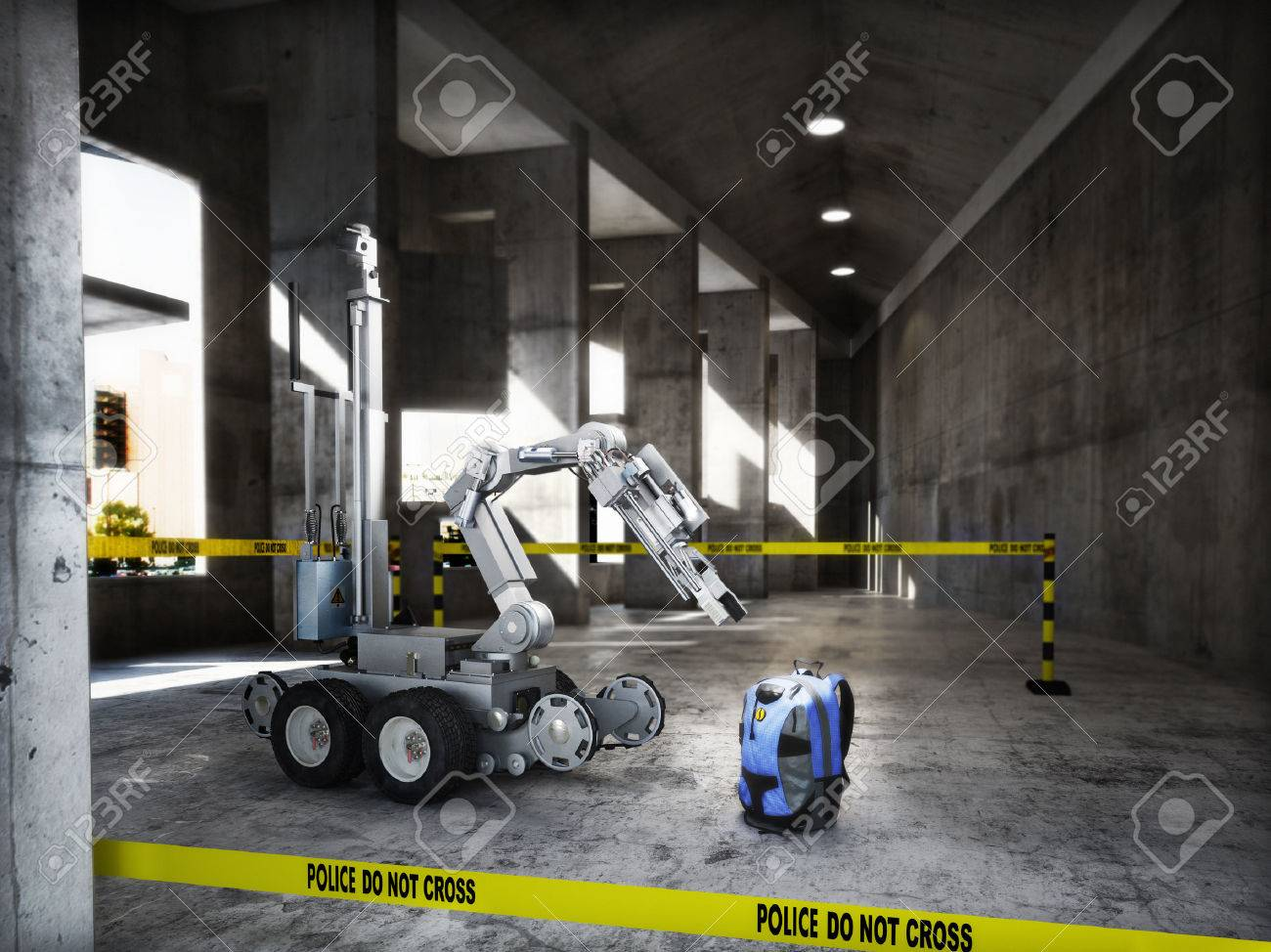 Police controlled bomb squad robot inspecting a suspicious backpack item inside a building interior.3d rendering. Standard-Bild - 58972052
