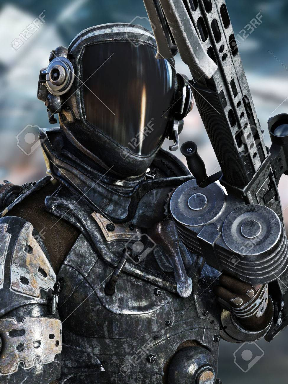Futuristic Space Marine posing in a spacesuit with weapon.3d rendering Standard-Bild - 60901499