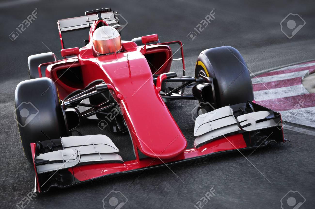 Motor sports race car Front angled view speeding down a track . 3d rendering Standard-Bild - 60901502