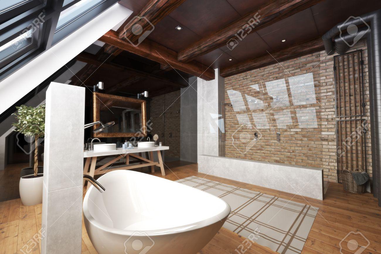 Interior Of A Modern Open Bathroom With Unique Bathtub, Walk Through Brick  And Glass Shower