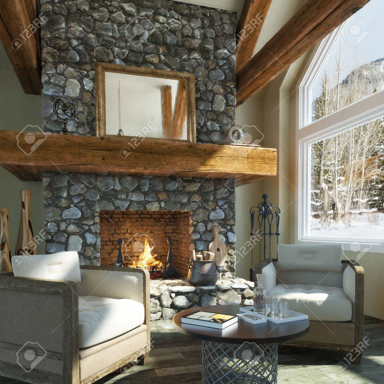 Luxurious open floor cabin interior design with roaring fireplace and winter scenic background. Photo realistic 3d rendering Standard-Bild - 60901526