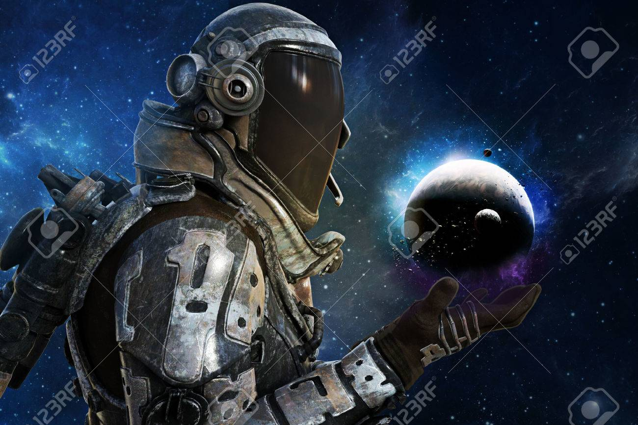 Exploration, A futuristic astronauts of the galaxy concept. 3d rendering Standard-Bild - 60901528