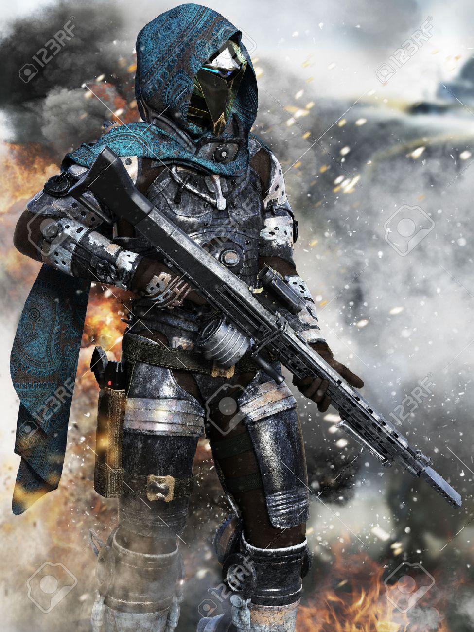 Futuristic ranger space Marine surveying the Battlefield . 3d rendering Standard-Bild - 64765007
