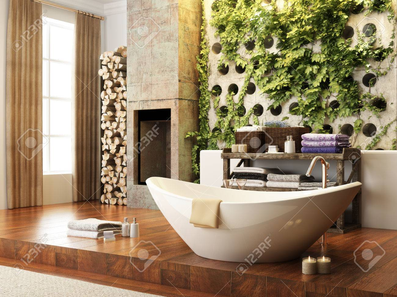 Rustic Accents Open Concept Bathroom With Wall Atrium And Fireplace . 3d  Rendering Stock Photo