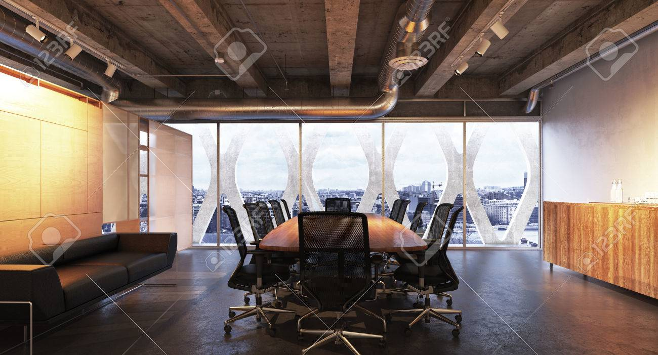 Executive Modern Empty Business High Rise Office Conference Room Overlooking A City With Industrial Accents