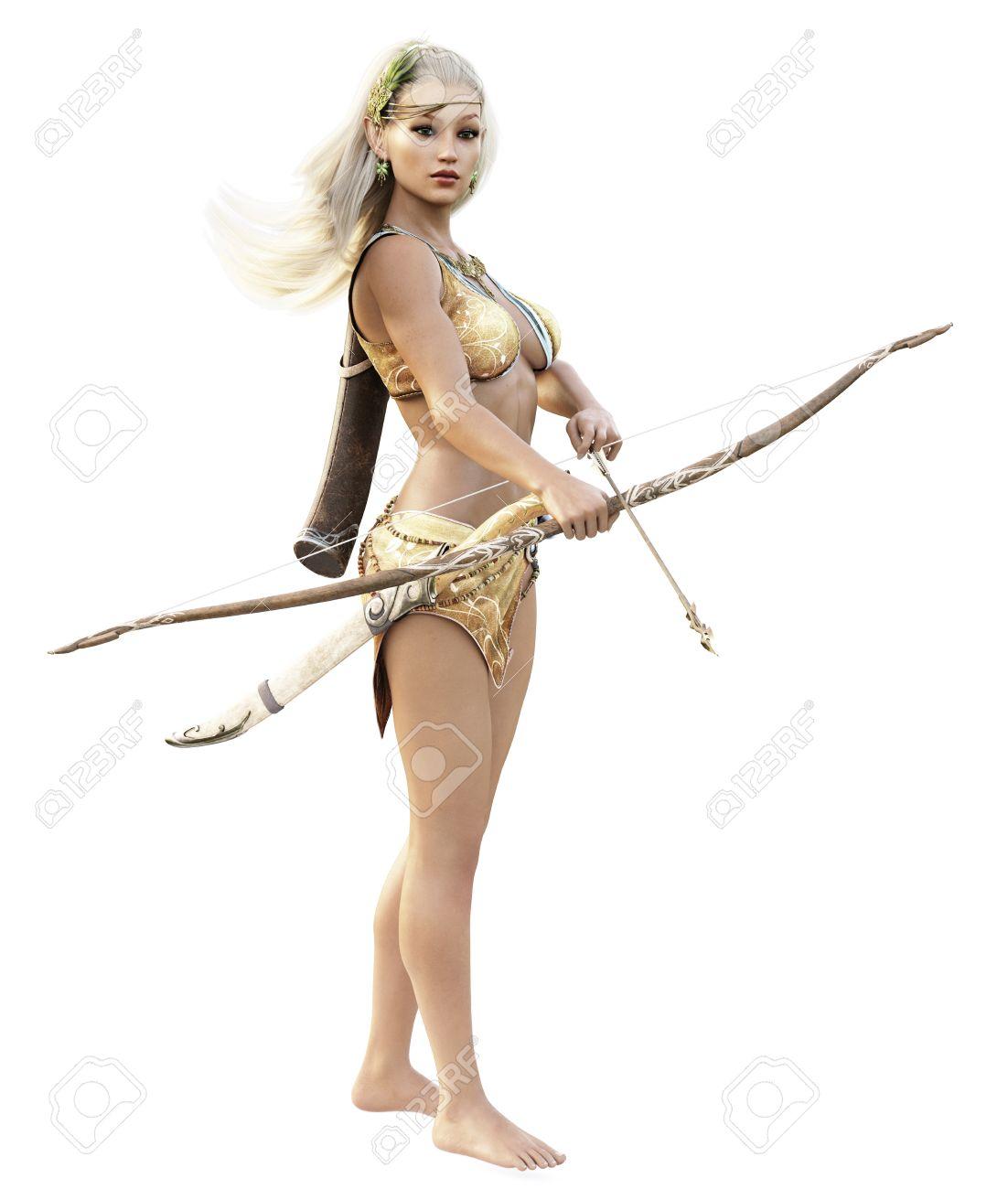 Blonde girl shooting bow hasidic