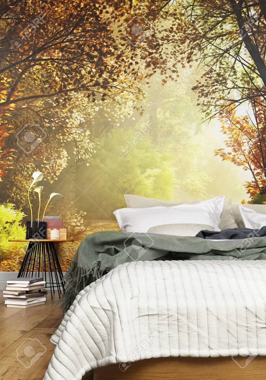 Interior Of A Cozy Rustic Bedroom With A Country Nature Wall Stock