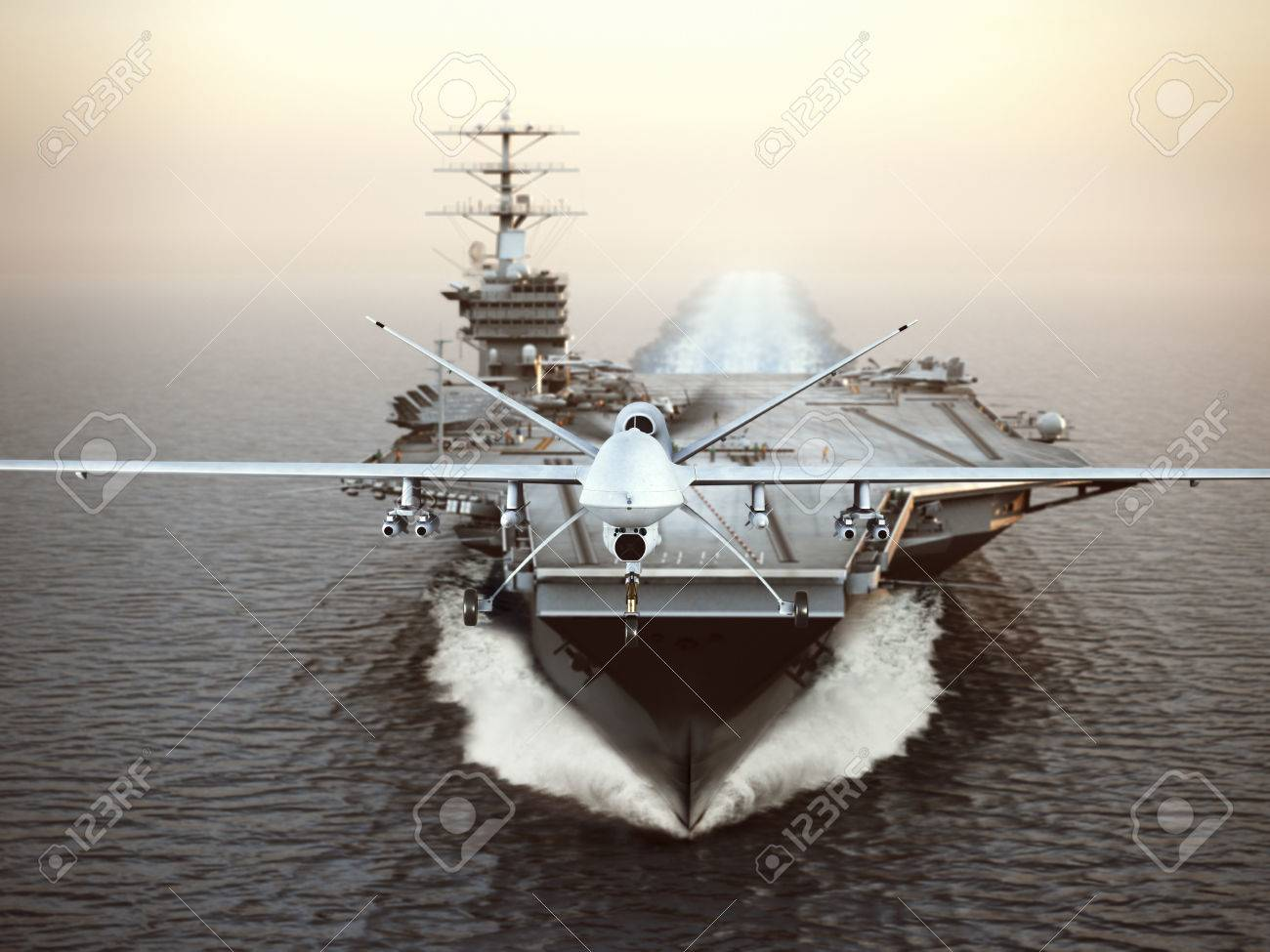 Military Drone aircraft launching from an aircraft carrier on a strike mission. 3d rendering Standard-Bild - 68278006
