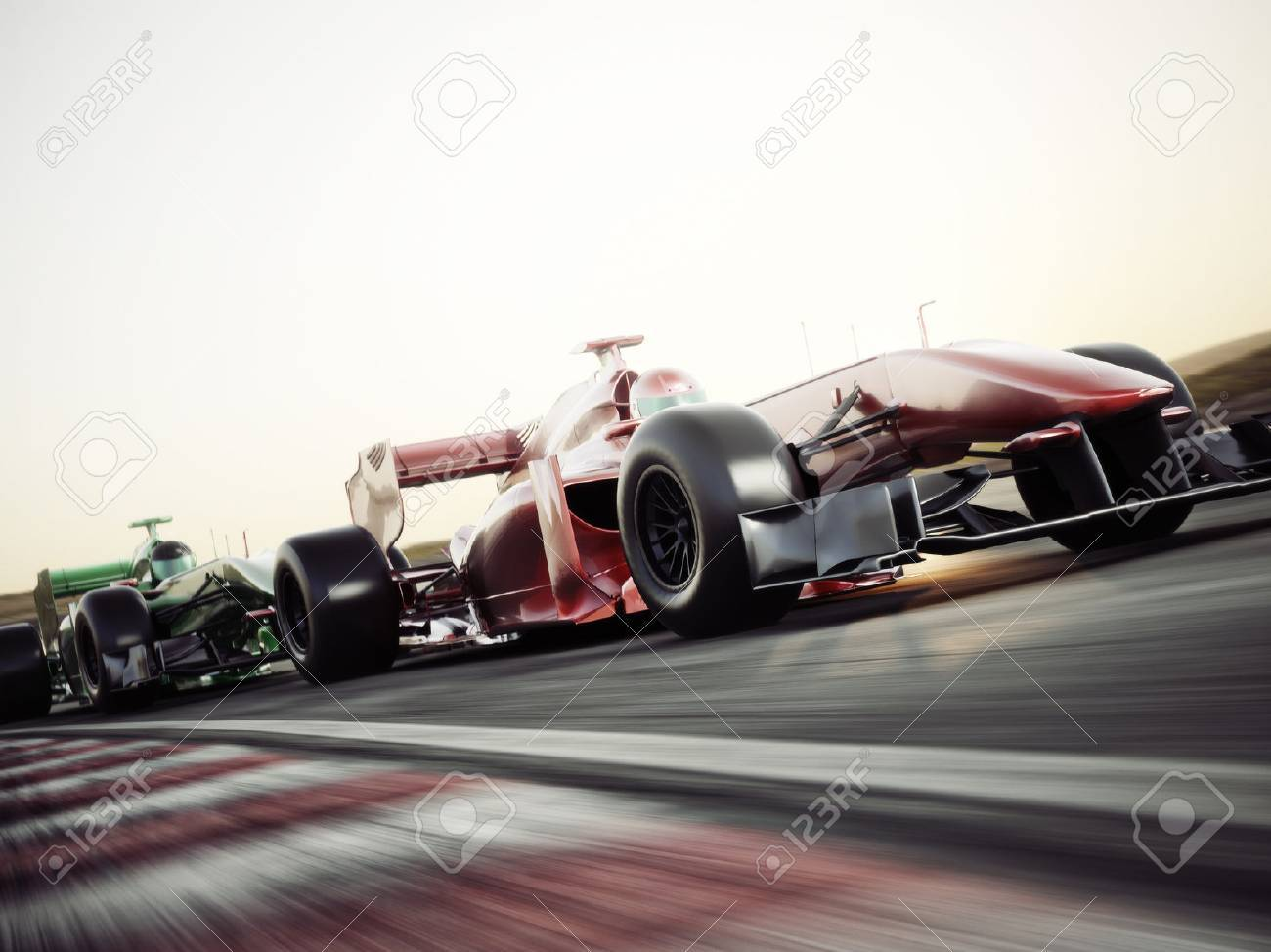 Motor sports competitive team racing. Fast moving race cars racing down the track . 3d rendering. With room for text or copy space Standard-Bild - 71737263