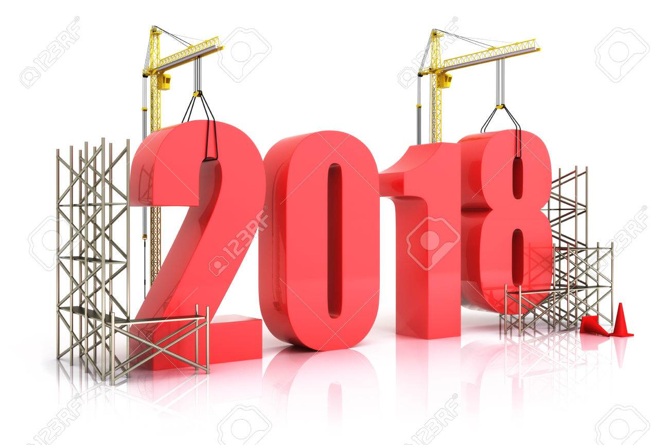 Year 2018 growth, building, improvement in business or in general concept in the year 2018, 3d rendering on a white background Standard-Bild - 71653190