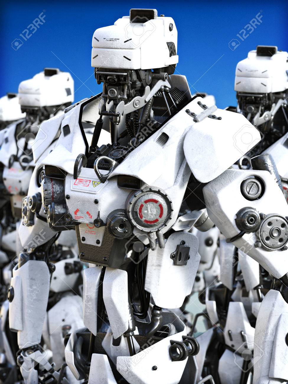 未来の機械化されたロボットの準備ができて立っています。3 D ...